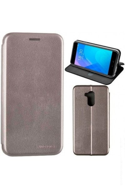 Чехол книжка на Huawei Y5 (2018) Серый кожаный защитный чехол для телефона, G-Case Ranger Series.