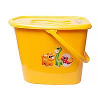 Ведерко для подгузников и воды Maltex DINO 6357  yellow