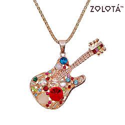 """Подвеска """"Гитара"""" на цепочке с разноцветными фианитами (куб. цирконием), в позолоте, ПД00071 (1)"""
