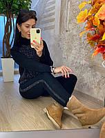 Женский стильный костюм  машинной вязки с камнями (в расцветках)