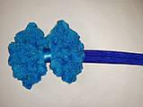 Дитячий блакитний+синій бантик-пов'язка - бант близько 10см,окружність 36-50см, фото 2