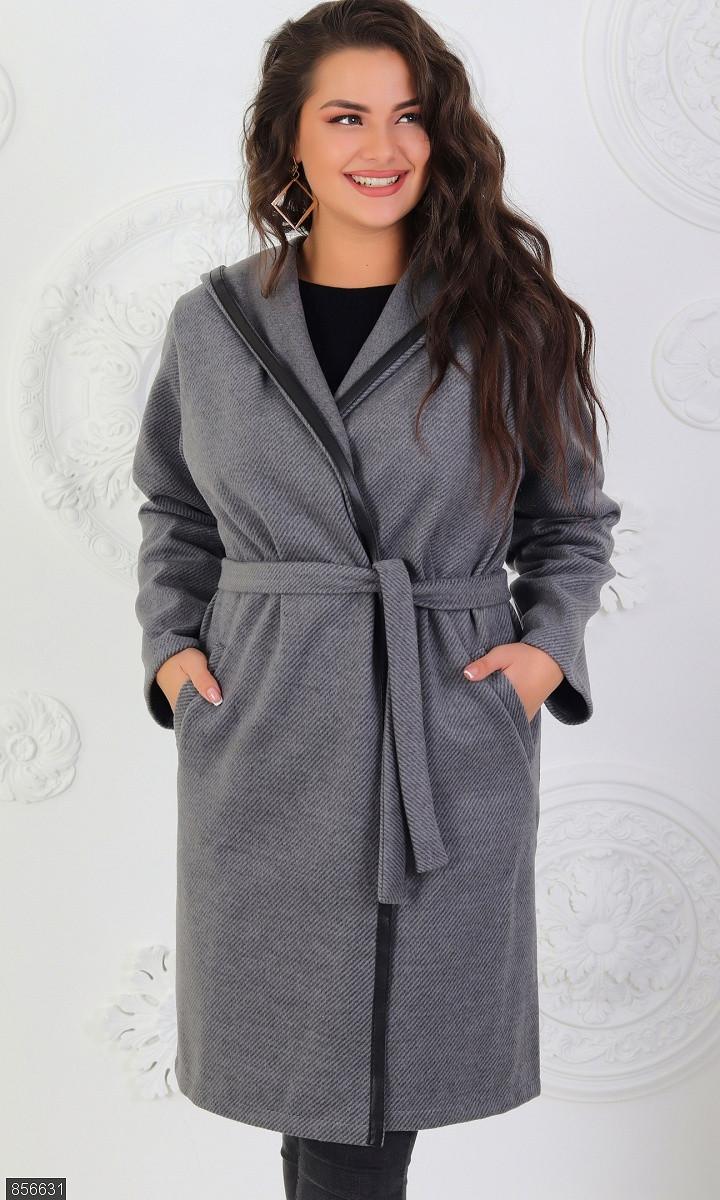 Пальто весеннее женское молодежное большого размера 856631 серый