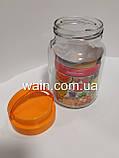 Банка стеклянная 900 мл с пластиковой оранжевой крышкой и ручкой для сыпучих Everglass, фото 4