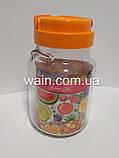 Банка стеклянная 900 мл с пластиковой оранжевой крышкой и ручкой для сыпучих Everglass, фото 2