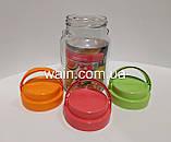 Банка стеклянная 900 мл с пластиковой оранжевой крышкой и ручкой для сыпучих Everglass, фото 6