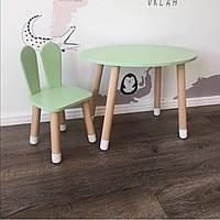Детский стол и стул (деревянный стульчик зайка и круглый чи овальный столик  столик)
