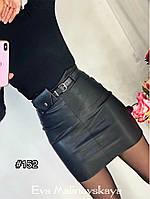 Женская стильная кожаная юбка, фото 1
