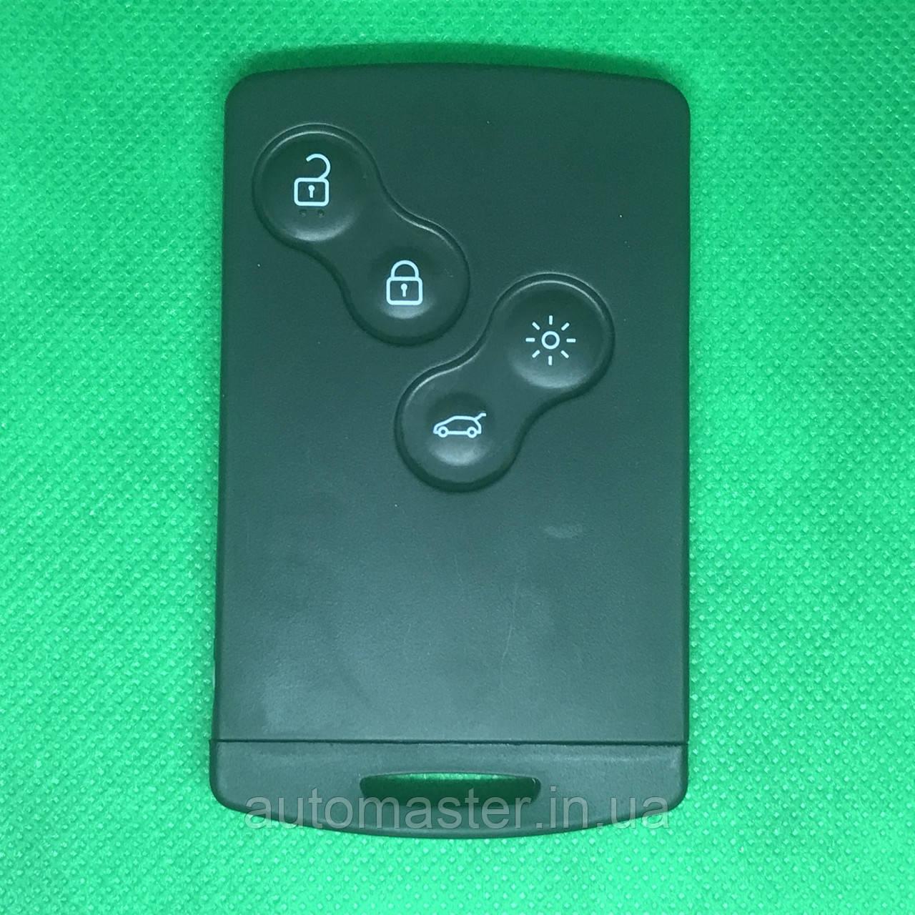 Смартключ карта RENAULT Megane (Рено Меган) 4 - кнопки с чипом PCF 7952 (Keyless-go) 433 MHz