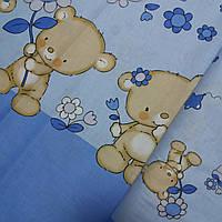 Ткань купонная с мишками и цветочками на голубом, ширина 160 см, фото 1