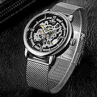 Winner Aperol серебристые с серебристым циферблатом мужские механические часы скелетон, фото 1
