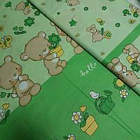 Ткань купонная с мишками и цветочками на зелёном, ширина 160 см, фото 1