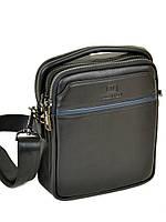 Удобная мужская сумка из натуральной кожи классическая черная BRETTON (21*18*8 см), BE 407-41 black