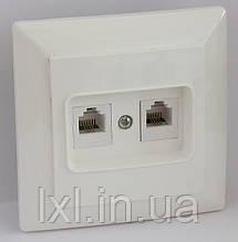 Розетка комп'ютерна подвійна (біла, крем) LXL ULTRA