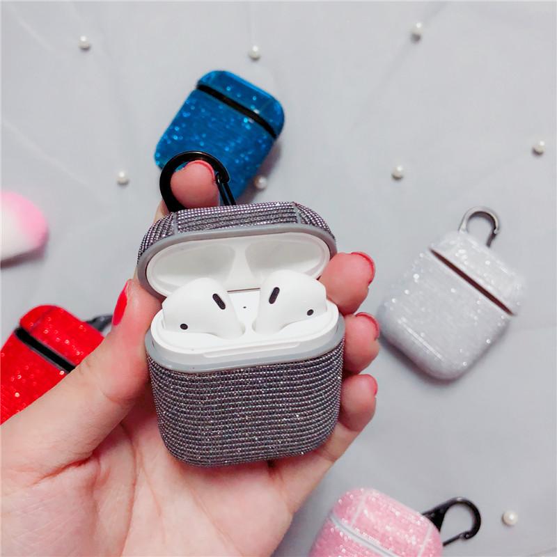 Противоударный чехол - Airpods Apple. Пластик + ткань люрекс (Темно-серый)