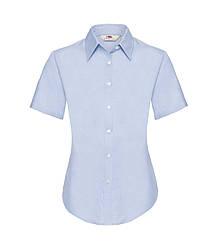 Женская рубашка с коротким рукавом OxFord голубая 000-УТ