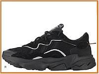 Мужские кроссовки Adidas Ozweego Black (адидас озвиго, черные) замш, текстиль, рефлективные