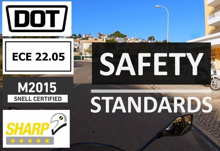 Стандарты сертификации  качества мотоциклетных шлемов  ECE 22.05  DOT  SHARP SNELL