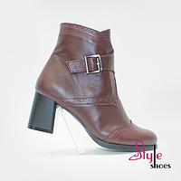 Ботинки женские кожаные бордовые, фото 1