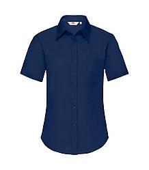 Женская рубашка с коротким рукавом Poplin темно-синяя 014-32