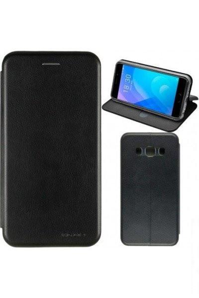 Чехол книжка на Samsung A730 (A8 Plus-2018) Черный кожаный защитный чехол для телефона, G-Case Ranger Series.