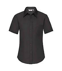 Женская рубашка с коротким рукавом Poplin черная 014-36