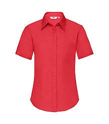 Женская рубашка с коротким рукавом Poplin красная 014-40