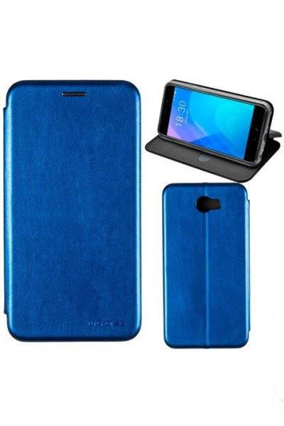 Чехол книжка на Samsung A750 (A7-2018) Синий кожаный защитный чехол для телефона, G-Case Ranger Series.