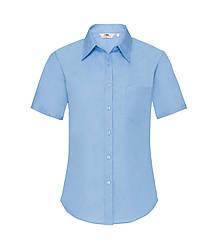 Женская рубашка с коротким рукавом Poplin голубая 014-УТ