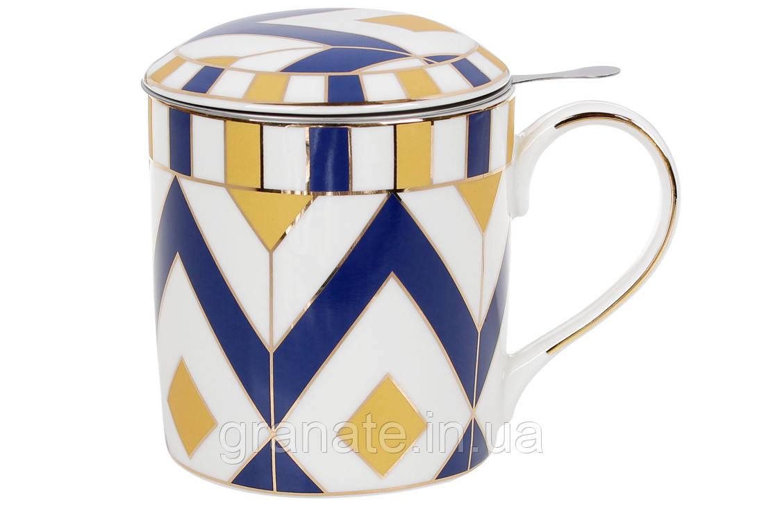 Заварник фарфоровый с металлическим ситом, 380мл, цвет -  синий с золотом