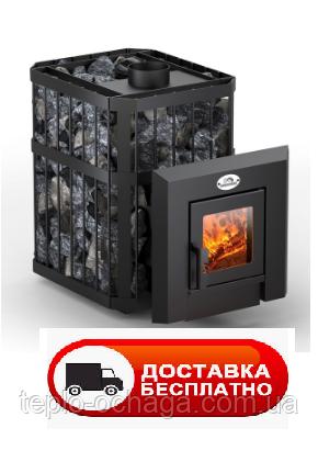 """Печь-камин для бани """"Пруток"""" 12 м3 Новаслав с выносом, стеклом, фото 2"""