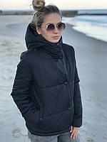 Стильная демисезонная женская куртка с капюшоном на молнии и кнопках чёрная 42-44 44-46 48-50 52-54
