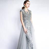 Вечірня Випускна сукня . Вечерние Выпускное платье ручной работы серебристое с фатиновой юбкой