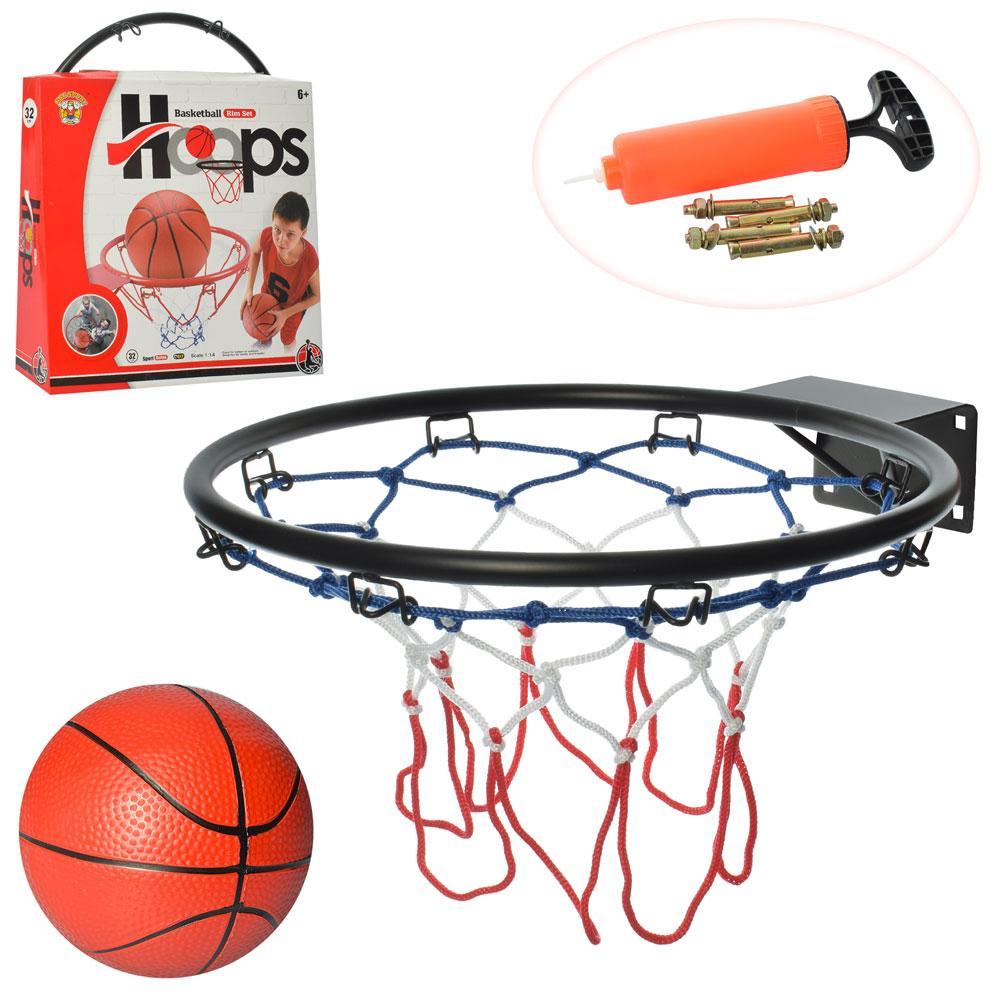 Баскетбольное кольцо, металлическое, сетка, мяч, насос, M5965