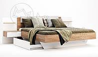 Кровать с прикроватными тумбами Asti / Асти MiroMark 160х200 дуб крафт / белый глянец