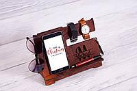 Підставка, обрамлена натуральним червоним деревом, для смартфону та телефону (оргонайзер)