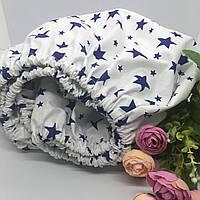 """Простинь на резинці в дитяче ліжечко 60х120+10 см. """"Сині зірочки"""""""""""
