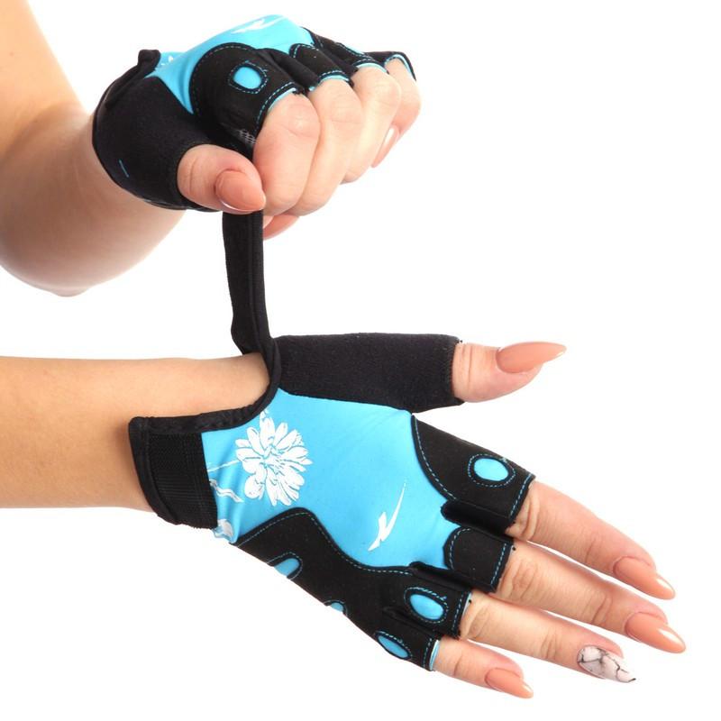 Перчатки для фитнеса женские MARATON черно-голубой AI-04-1519