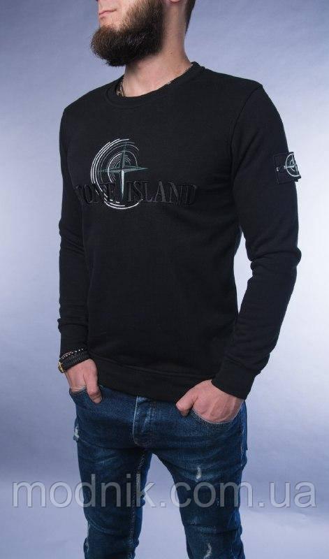 Мужская стильная кофта Stone Island (черная) - Турция