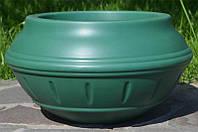 Вазон уличный ф 350 мм, садово - парковый пластиковый для цветов (Термочаша - двойные стенки) Зеленый