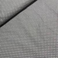 Ткань с мелким белым горошком 3 мм на сером, ширина 142 см, фото 1