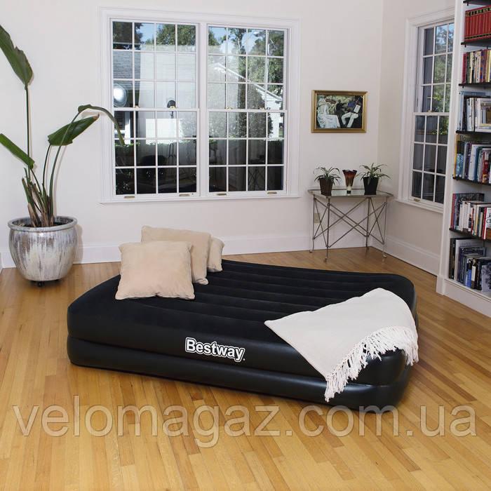 Надувной велюр матрас-кровать, насос 220 V, 203*163*48 см, BESTWAY  67345
