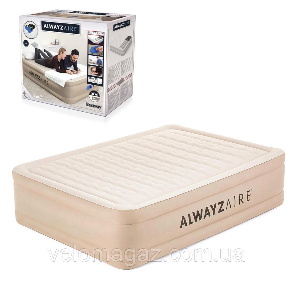 Велюрова двоспальне ліжко-матрац 203*152*51 см BESTWAY 69054 з вбудованим електро-насосом