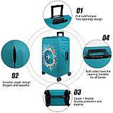 Чехол на чемодан защитный дорожный. Накидка эластичная для чемодана из микродайвинга, размер L, фото 3