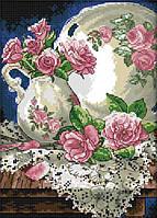 Набор для вышивки счетным крестом Дачные розы 21х30 см (арт. MK095)