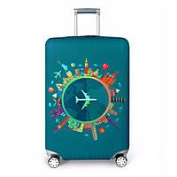 Чехол на чемодан защитный дорожный. Накидка эластичная для чемодана из микродайвинга, размер M, фото 1