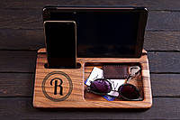 Оригінальна персонолізована Підставка  для смарфону та телефону (оргонайзер), ручної роботи,  з дерева.