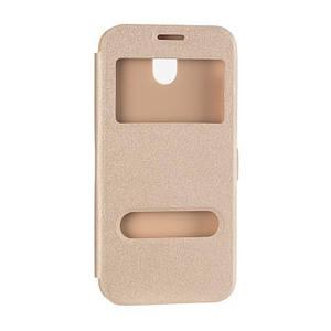 Чехол книжка на Huawei P8 Lite (2017) Золотой кожаный защитный чехол для телефона с двумя окнами.