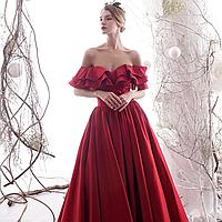Вечерние Выпускное красное платье. Червона вечірня пишна сукня атласна. Платье атласное