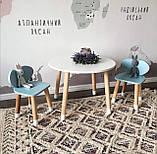 Детский стол и 2 стула (деревянный стульчик мишка и круглый столик), фото 4