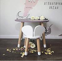 Детский стол и стул (деревянный стульчик мишкаи круглый столик)
